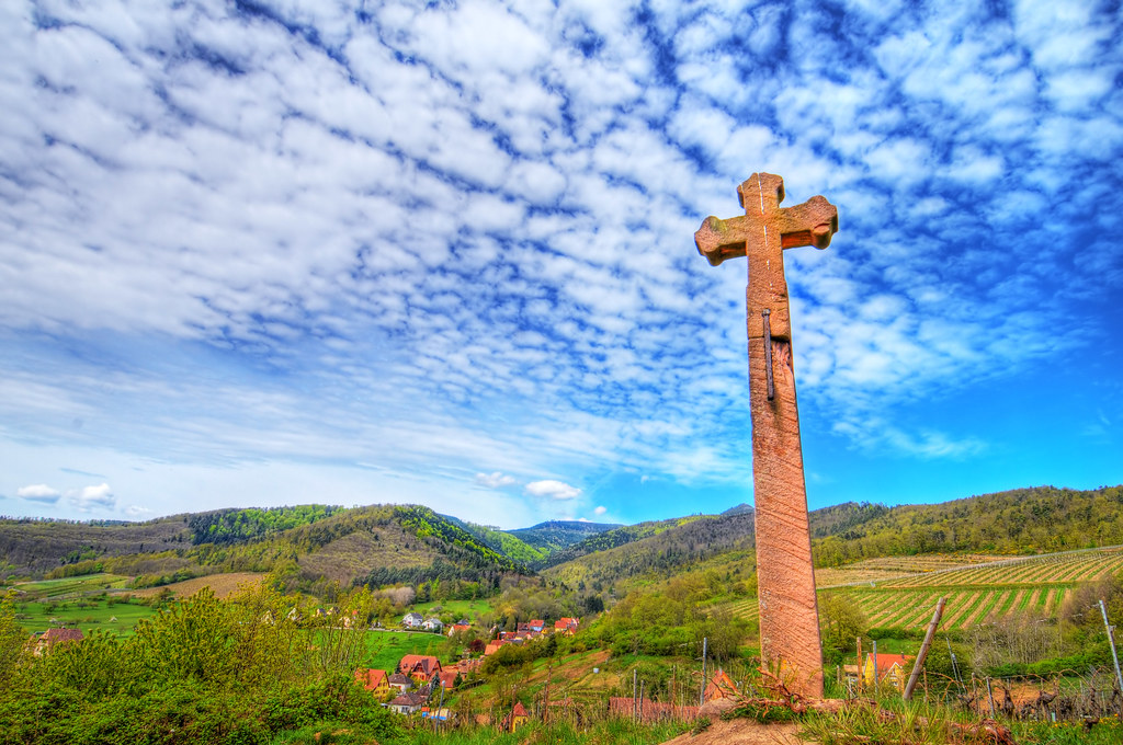 The stone cross on the hill