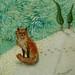 Sitting Fox - original fabric on wood art by shellieartist