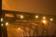 Tower bridge in heavy fog