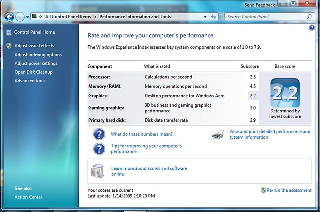 Windows 7 Eee 1000h Perforrmance Rating Flickr Photo