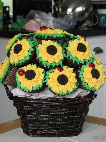 Cupcake Bouquet of Sunflowers by sugarcrushmiami