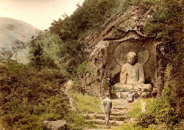 THE OLD STONE JIZO CARVED INTO A HIDDEN MOUNTAIN NEAR HAKONE -- Religion on the Rocks in Old Japan
