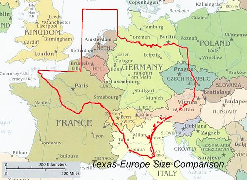 TEXAS EUROPE SIZE COMPARISON MAP | Texas vs Europe | misco | Flickr