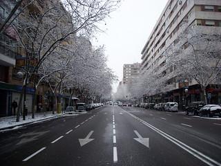La c/Orense nevada