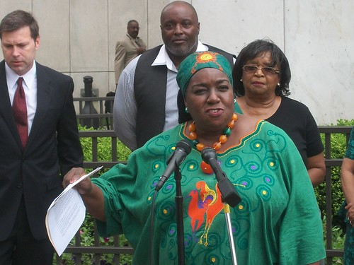 "Detroit City Councilwoman JoAnn Watson speaks in front of City Hall announcing a lawsuit challenging the state's ""emergency manager"" law which passed the Michgian Legislature during the Winter of 2011. (Photo: Abayomi Azikiwe) by Pan-African News Wire File Photos"