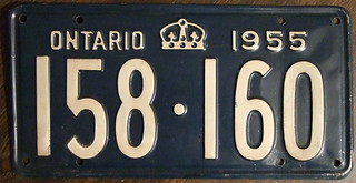 ONTARIO 1955 license plate