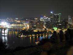 Vista nighttime in downtown Pittsburgh