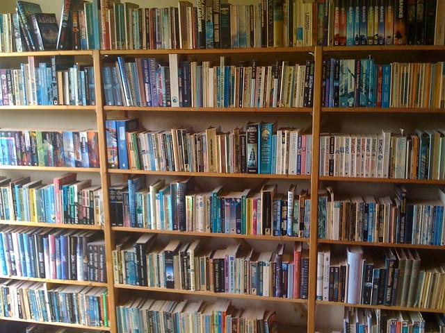 A bookshelf full of books