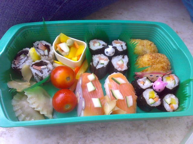 tupperware bento box with sushi. Black Bedroom Furniture Sets. Home Design Ideas