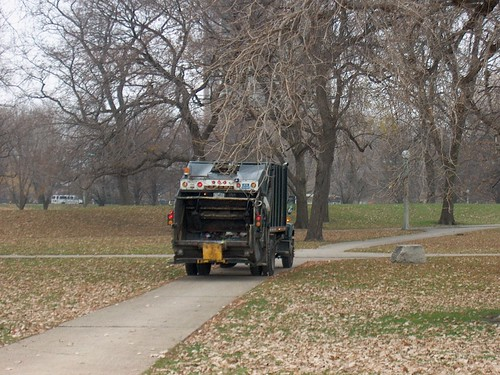 Chicagp Park District trash collection crew heads to the next waste can. Lincoln Park. Chicago Illinois. November 2006. by Eddie from Chicago