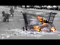 Trolleys on fire
