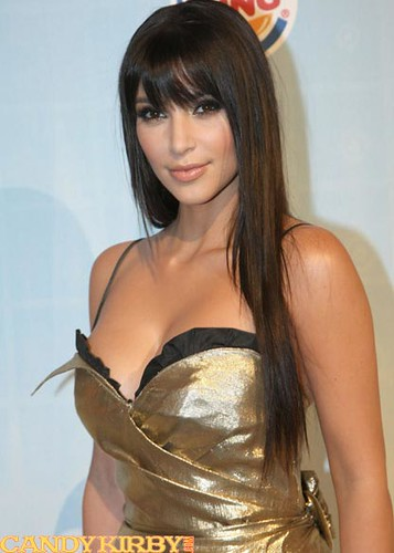 "Kim Kardashian Wearing Bangs and a Gold Dress at Spike TV's 2008 ""Video Game Awards"""