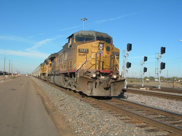 grain train entering North Platte classification yard