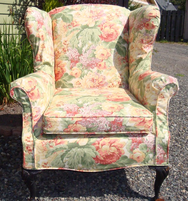 Pink Floral Wingback Chair After Flickr Photo Sharing