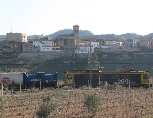 Renfe train in Nonaspe (Zaragoza), Aragon, Spain
