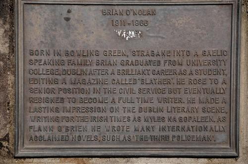 Plaque to Brian O'Nolan/Myles Na Gopaleen/Flann O'Brien in Strabane by Strabanephotos