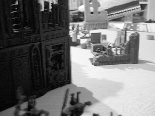 Line of sight from Khorne Bezerkers to Imperial guard squad B (the autocanon guys)