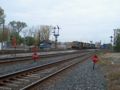Southbound CSX Transportation Company intermodal transfer train arriving at  Brighton Junction. ( Gone.) Chicago Illinois. October 2006. by Eddie from Chicago
