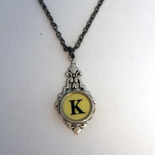 ivory k vintage typewriter key necklace flickr photo