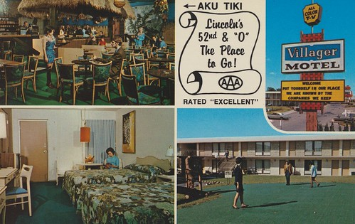 vintage nebraska postcard lounge motel lincoln tiki roomview aku puttinggreen signview restaurantview quadview