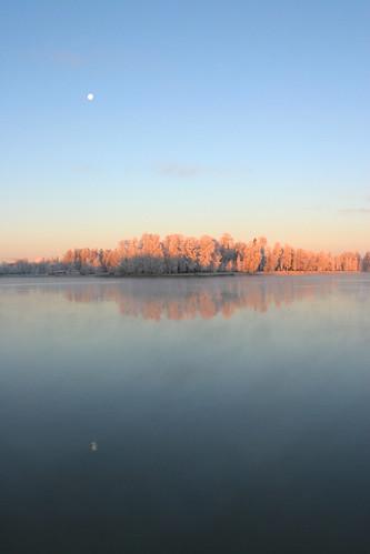 winter sunrise finland pori kokemäenjoki