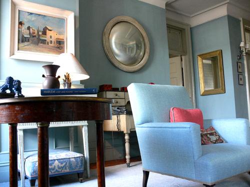 Shelia Bridges Classic Living Room Farrow Ball Oval Blue