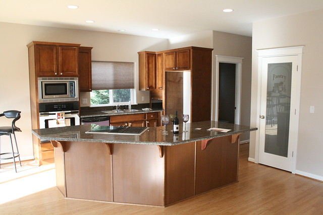 awesome kitchen with cooktop island granite tile countert flickr