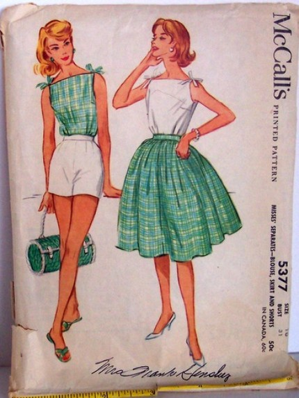 Vintage McCalls Pattern 5377 Rockabilly Shoulder Tied Blouse, Short and Full Skirt Size 10 Bust 31 Waist 24 Hip 33 60s