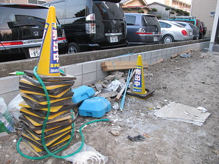 stack of yellow cones