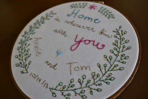 Closeup on A & T's Wedding Embroidery