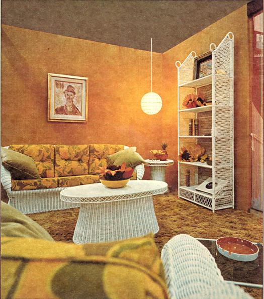 Orange Living Room Design 1970