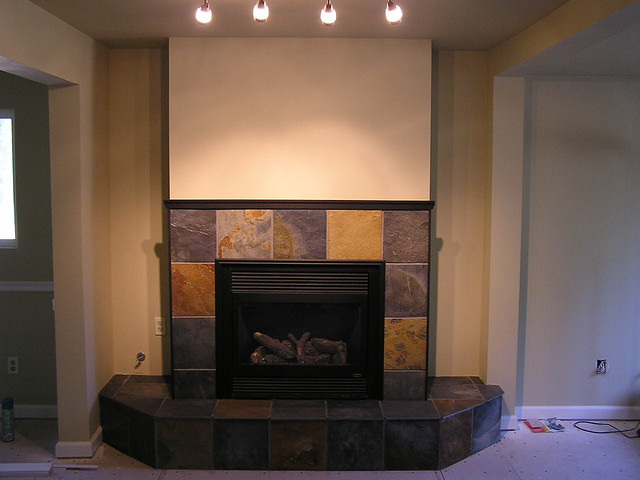 Gorgeous Lighting Downstairs Fireplace