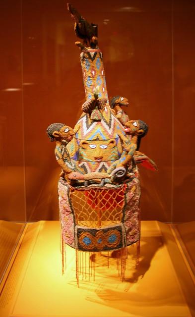 Crown, Yoruba peoples, Ekiti region, Ikere, Nigeria, Early 20th century, Glass beads, cloth, plant fiber, iron