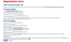 BT account creation form