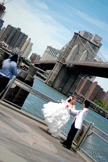 Bride and Groom at the Brooklyn Bridge