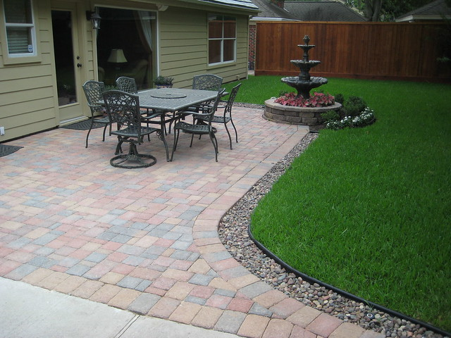 Paver patio with fountain flickr photo sharing for Patio drainage