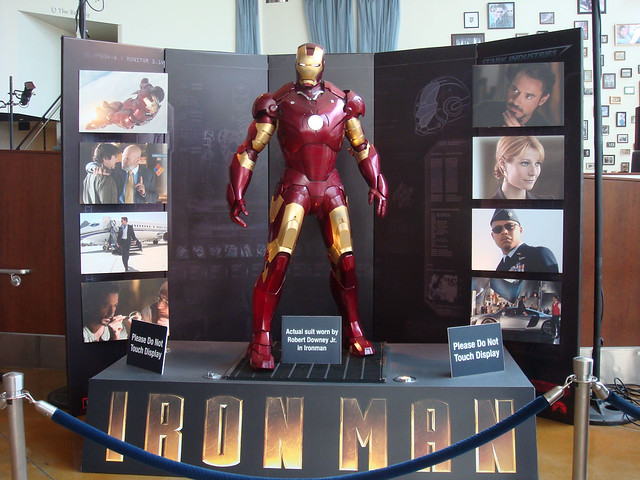 iron man armor from the movie on display at the arclight