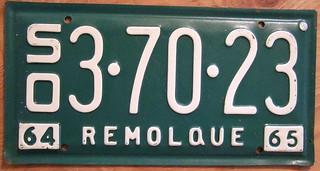 """MEXICO, SONORA 1964-65 """"REMOLQUE"""" TRAILER plate"""