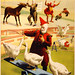 Geese, roosters and musical donkey, poster for Barnum & Bailey, ca. 1900