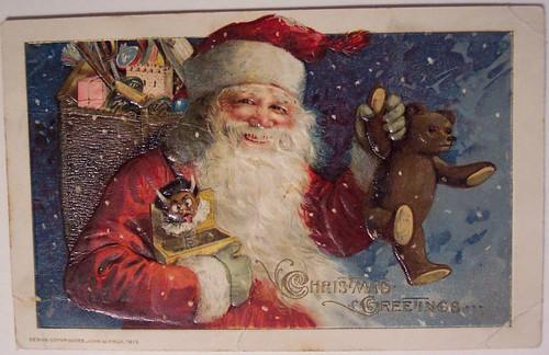 Vintage Christmas Postcard - Santa, Teddy & Krampus Jack in the Box