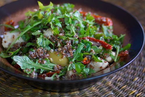 warm red quinoa, chicken, and arugula salad