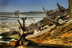 a dhow and a wreckage