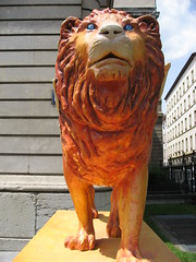 carving, art, chainsaw carving, lion, sculpture, statue,
