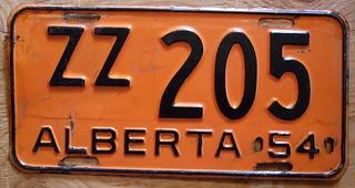 ALBERTA 1954 license plate