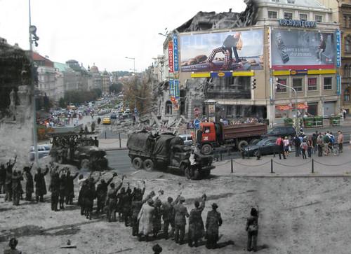 then+now, Václavské náměstí / Wenceslas Square (1945+1968+2008)