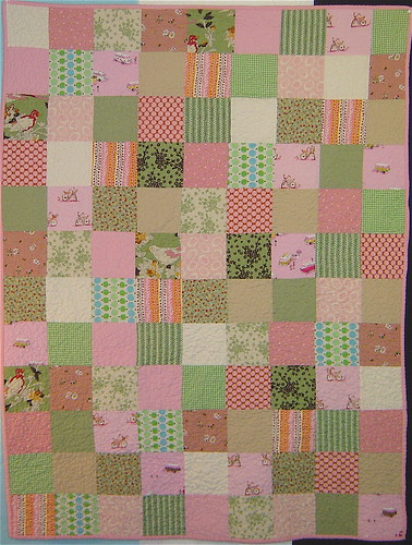 Pink & Green Squares Baby quilt