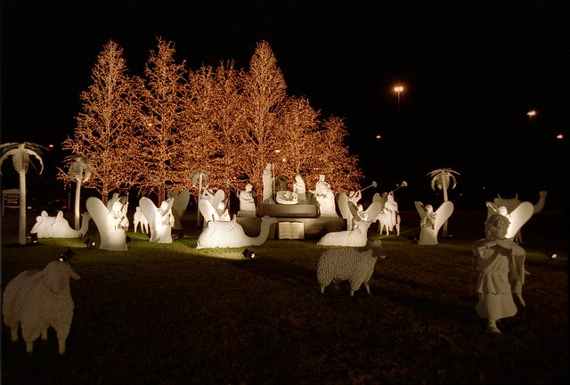 Outdoor christmas lights with nativity scene opryland for Outside christmas scenes