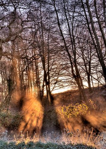 morning mist sunrise river frost norfolk hdr castleacre