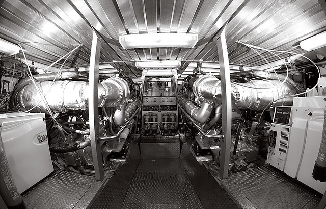 Engine room of a 58' Hatteras Sport Fishing boat.