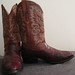 Leather and Eel Skin El Compadre Cowboy Boots. Size 38. Mens Size 9. Dark Rich Red, Orange & Stylized Western Stitching.